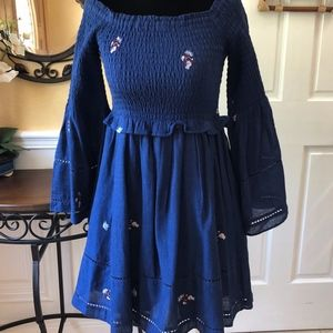 NWT! Free People Blue Bell Sleeve Embroidery Dress